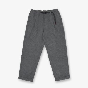 WOOL BLEND TUCK TAPERED PANTS (HEATHER CHARCOAL)
