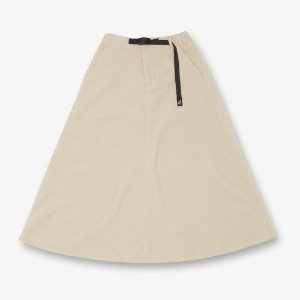 BOA FLEECE LONG FLARE SKIRT (IVORY)