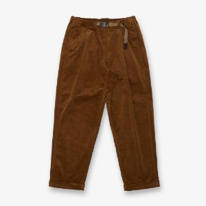 CORDUROY TUCK TAPERED PANTS (CAMEL)