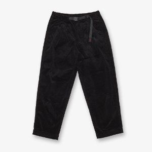 CORDUROY TUCK TAPERED PANTS (BLACK)