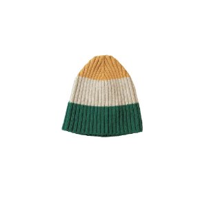 Three Stripe Lambswool Rib Hat (Green Multi)